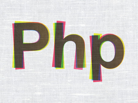 php: Software concept: CMYK Php on linen fabric texture background
