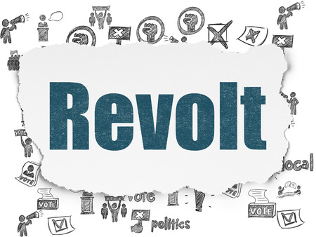 revolt: Politics concept: Painted blue text Revolt on Torn Paper background with  Hand Drawn Politics Icons