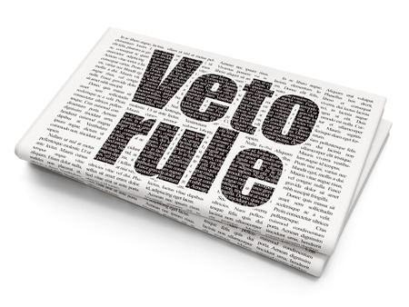 veto: Political concept: Pixelated black text Veto Rule on Newspaper background, 3D rendering