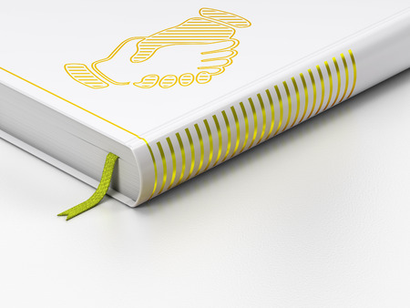 closed community: Politics concept: closed book with Gold Handshake icon on floor, white background, 3D rendering