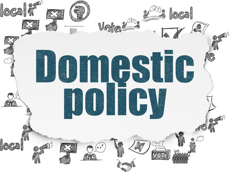 domestic policy: Politics concept: Painted blue text Domestic Policy on Torn Paper background with  Hand Drawn Politics Icons Stock Photo