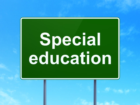 special education: Education concept: Special Education on green road highway sign, clear blue sky background, 3D rendering