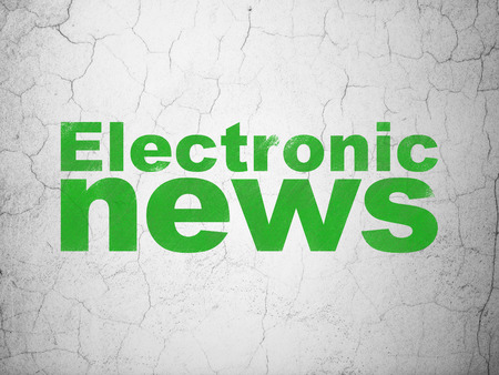 electronic background: News concept: Green Electronic News on textured concrete wall background
