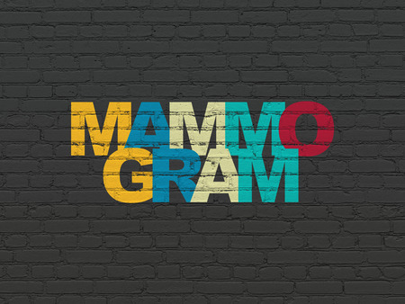 mammogram: Health concept: Painted multicolor text Mammogram on Black Brick wall background