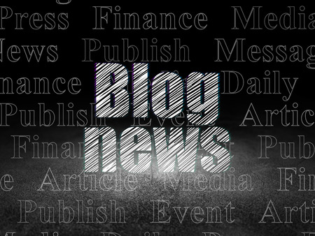 news room: News concept: Glowing text Blog News in grunge dark room with Dirty Floor, black background with  Tag Cloud Stock Photo