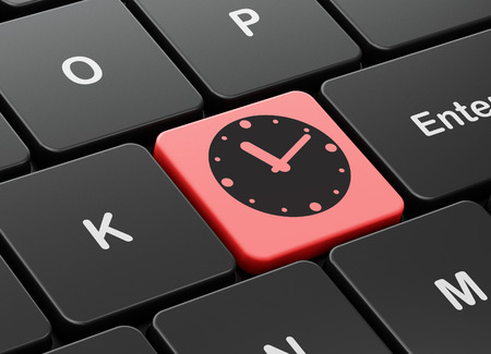 cronologia: Time concept: computer keyboard with Clock icon on enter button background, 3D rendering Foto de archivo