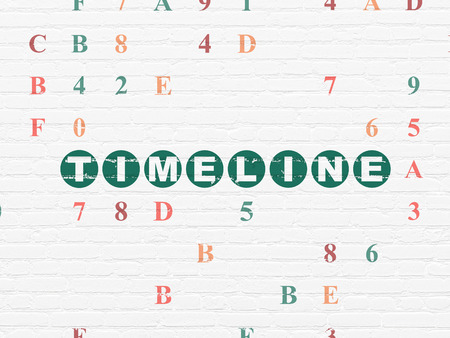 hexadecimal: Time concept: Painted green text Timeline on White Brick wall background with Hexadecimal Code