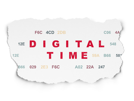 cronologia: Timeline concept: Painted red text Digital Time on Torn Paper background with  Hexadecimal Code Foto de archivo