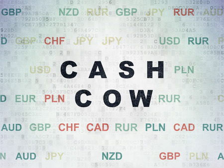 cash cow: Finance concept: Painted black text Cash Cow on Digital Data Paper background with Currency