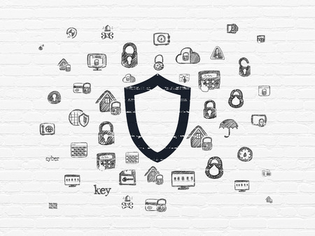 contoured: Privacy concept: Painted black Contoured Shield icon on White Brick wall background with  Hand Drawn Security Icons Stock Photo