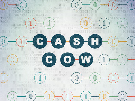 cash cow: Finance concept: Painted blue text Cash Cow on Digital Data Paper background with Binary Code