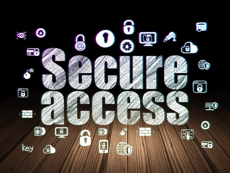 room access: Safety concept: Glowing text Secure Access,  Hand Drawn Security Icons in grunge dark room with Wooden Floor, black background Stock Photo