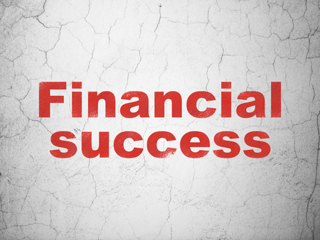 financial success: Money concept: Red Financial Success on textured concrete wall background