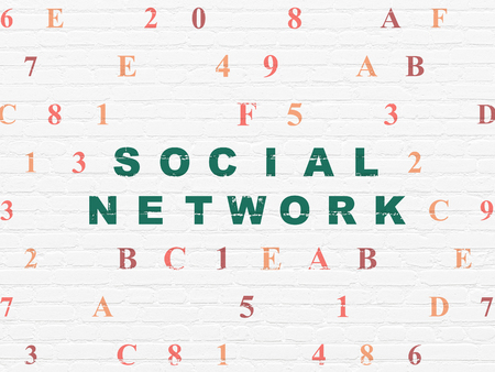microblog: Social network concept: Painted green text Social Network on White Brick wall background with Hexadecimal Code Stock Photo