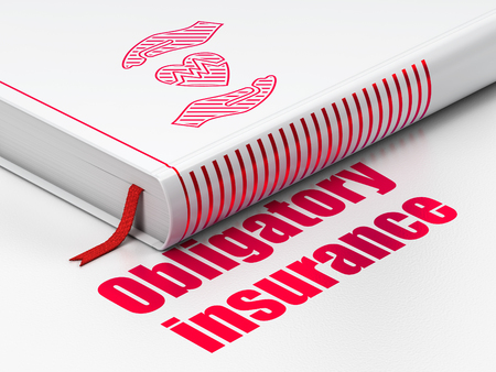 obligatory: Insurance concept: closed book with Red Heart And Palm icon and text Obligatory Insurance on floor, white background, 3D rendering