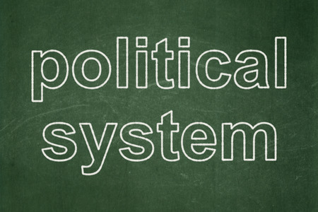 Political concept: text Political System on Green chalkboard background Stock Photo