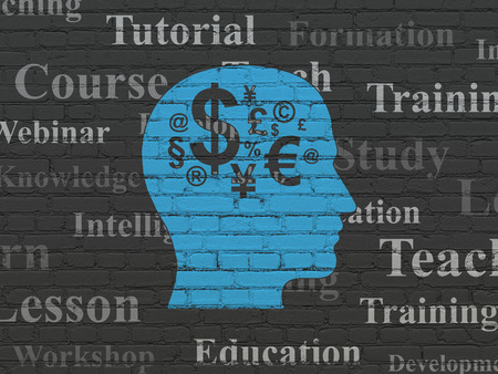 head tag: Studying concept: Painted blue Head With Finance Symbol icon on Black Brick wall background with  Tag Cloud