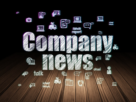 news room: News concept: Glowing text Company News,  Hand Drawn News Icons in grunge dark room with Wooden Floor, black background Stock Photo