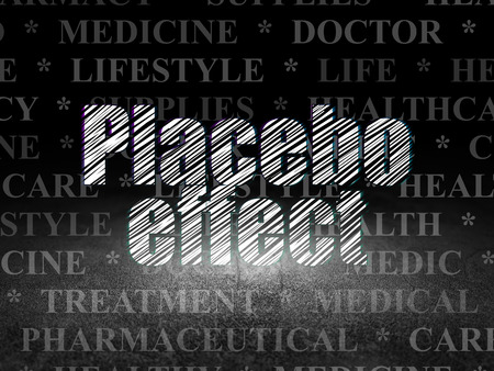 placebo: Health concept: Glowing text Placebo Effect in grunge dark room with Dirty Floor, black background with  Tag Cloud