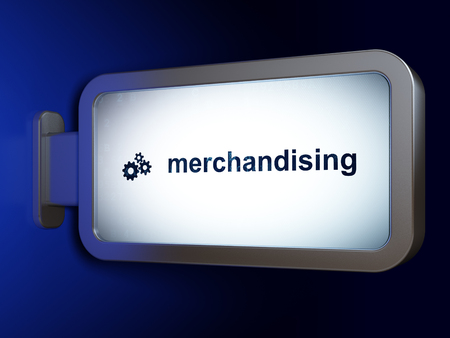 merchandising: Marketing concept: Merchandising and Gears on advertising billboard background, 3D rendering Stock Photo