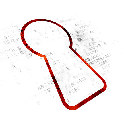 pin code: Safety concept: Pixelated red Keyhole icon on Digital background