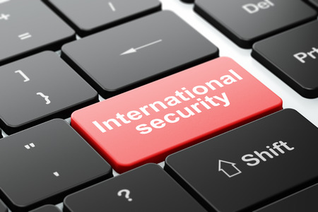 international security: Protection concept: computer keyboard with word International Security, selected focus on enter button background, 3D rendering