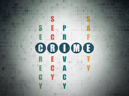 crime solving: Security concept: Painted blue word Crime in solving Crossword Puzzle on Digital Data Paper background