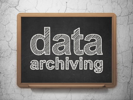 data archiving: Data concept: text Data Archiving on Black chalkboard on grunge wall background, 3D rendering