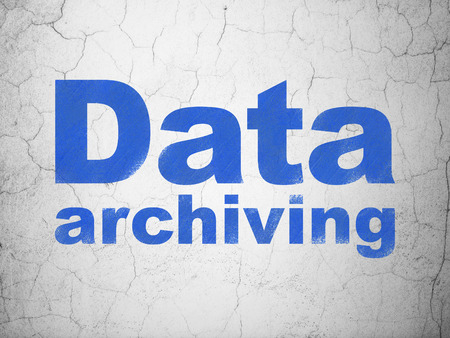 data archiving: Information concept: Blue Data Archiving on textured concrete wall background Stock Photo