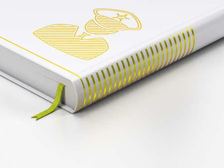 Security concept: closed book with Gold Police icon on floor, white background, 3D rendering