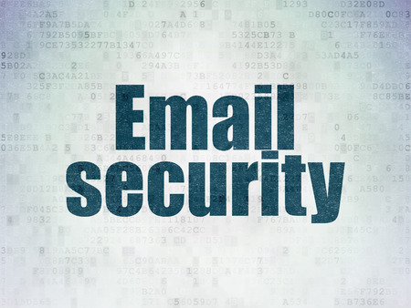 email security: Privacy concept: Painted blue word Email Security on Digital Data Paper background Stock Photo
