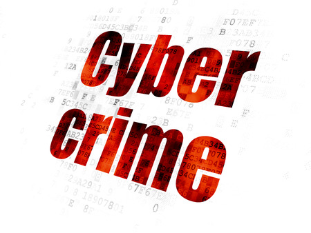 Security concept: Pixelated red text Cyber Crime on Digital background Stock Photo