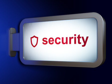 contoured: Security concept: Security and Contoured Shield on advertising billboard background, 3D rendering Stock Photo