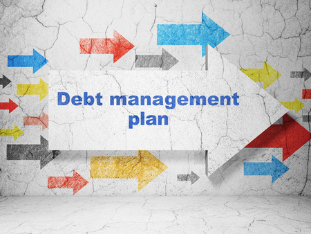 debt management: Finance concept:  arrow with Debt Management Plan on grunge textured concrete wall background, 3D rendering Stock Photo