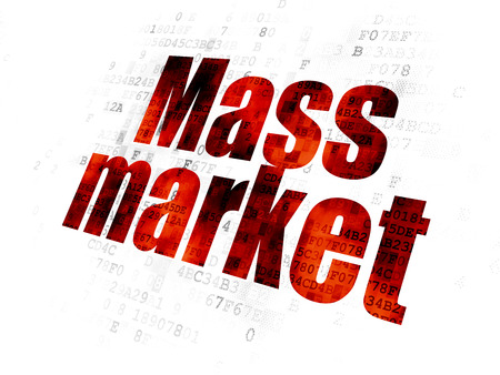 Marketing concept: Pixelated red text Mass Market on Digital background