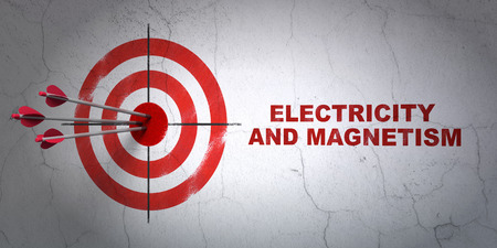 magnetismo: Success Science concept: arrows hitting the center of target, Red Electricity And Magnetism on wall background, 3D rendering