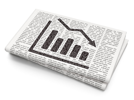 News concept: Pixelated black Decline Graph icon on Newspaper background, 3D rendering Stock Photo