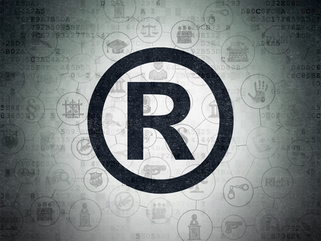 r regulation: Law concept: Painted black Registered icon on Digital Data Paper background with Scheme Of Hand Drawn Law Icons