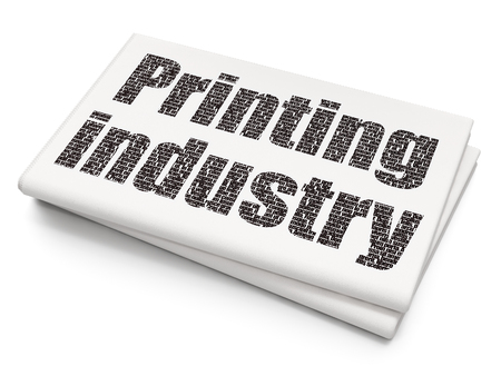 printing industry: Industry concept: Pixelated black text Printing Industry on Blank Newspaper background, 3D rendering Stock Photo