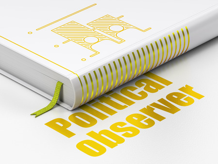 Political concept: closed book with Gold Election icon and text Political Observer on floor, white background, 3D rendering