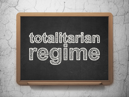 totalitarian: Politics concept: text Totalitarian Regime on Black chalkboard on grunge wall background, 3D rendering