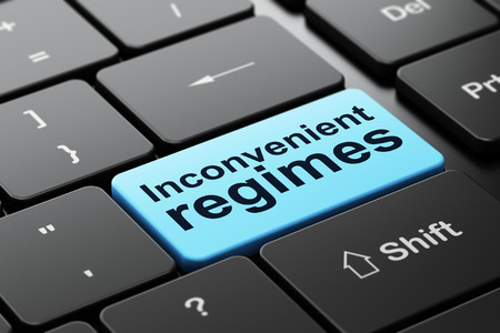 inconvenient: Political concept: computer keyboard with word Inconvenient Regimes, selected focus on enter button background, 3D rendering