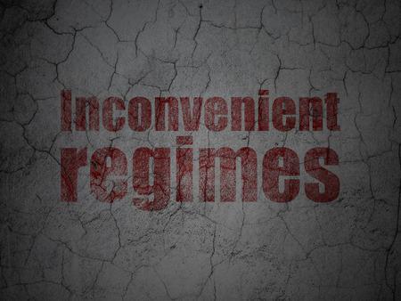 inconvenient: Political concept: Red Inconvenient Regimes on grunge textured concrete wall background Stock Photo