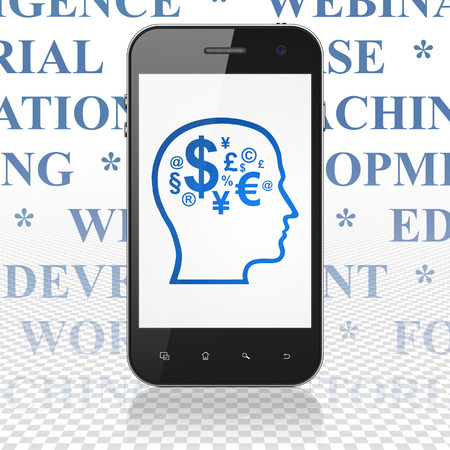 head tag: Education concept: Smartphone with  blue Head With Finance Symbol icon on display,  Tag Cloud background, 3D rendering