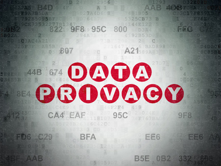 privat: Protection concept: Painted red text Data Privacy on Digital Data Paper background with Hexadecimal Code