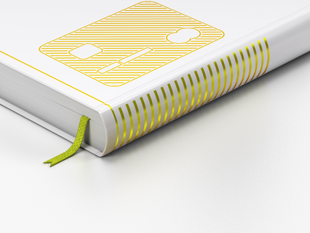 Business concept: closed book with Gold Credit Card icon on floor, white background, 3D rendering