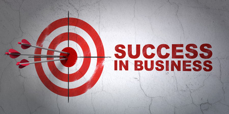 Success finance concept: arrows hitting the center of target, Red Success In business on wall background, 3D rendering