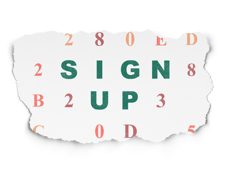 up code: Web development concept: Painted green text Sign Up on Torn Paper background with  Hexadecimal Code