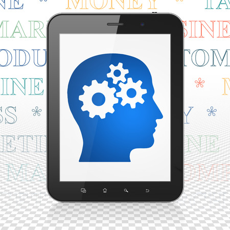 head tag: Advertising concept: Tablet Computer with  blue Head With Gears icon on display,  Tag Cloud background, 3D rendering