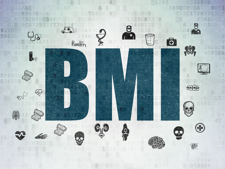 BMI: Healthcare concept: Painted blue text BMI on Digital Data Paper background with  Hand Drawn Medicine Icons Stock Photo